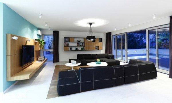 斯洛伐克现代简约家居设计 黑白大线条体现视觉张力