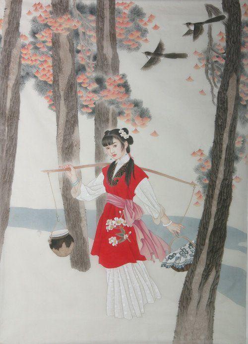李墨竹工笔画下的妙龄女子