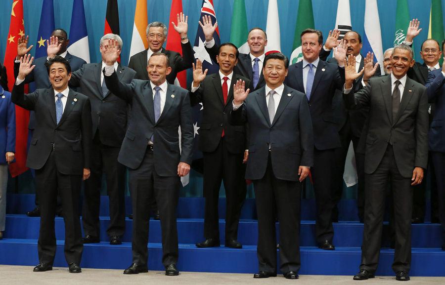 利亚布里斯本,G20峰会举行,领导人集体合照时把普京放到边缘