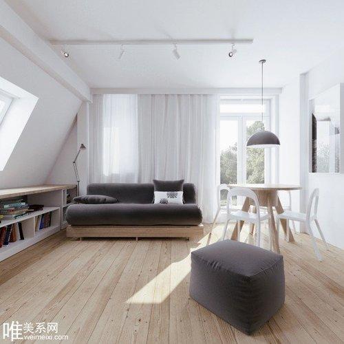 清爽自然的顶层小公寓装修设计