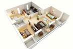 十六个三居室空间3D平面图 来挑选您的理想型啦