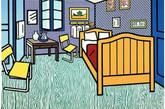 """当我们回忆他,""""走不出""""他的房间。如今当我们回忆梵高,他在阿尔勒的房间更成为icon般的存在。从画像到座椅,无数艺术家用自己的方式,透过这个房间向他致敬,表达自己对梵高的理解。著名波普大师Roy Lichtenstein画下的梵高的房间。(实习编辑:周芝)"""