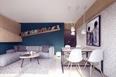 波兰室内设计公司PLASTE LINA 非常有创意地在空间中央加了一道白色砖块隔墙,并搭配活动性高的拉门设计,在原本开放的格局隔中创造出较为多元的动线,如此,小面积住宅也能有两房之感,而做菜时只要将和客厅之间的拉门拉上,便不怕油烟飘散。(实习编辑:周芝)