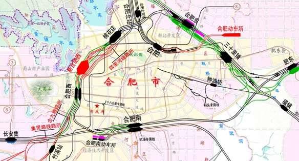 庐江县,安庆市桐城市和怀宁县. 在建及规划建设的合福铁路、商合