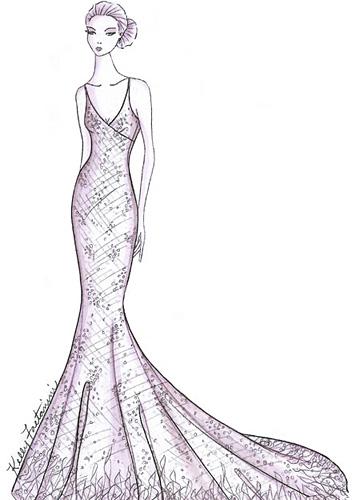 时尚衣服图片手绘素描