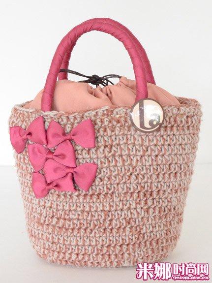 可爱的 包包 郊游/出去郊游再合适不过的绒线包包啦,还有可爱的蝴蝶结