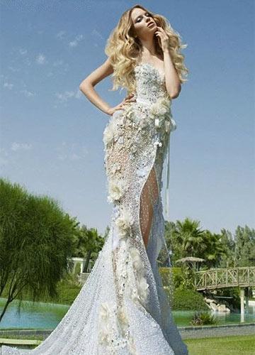 欧美绸缎婚纱模特高清