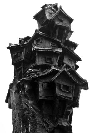 """重庆""""记忆山城""""吊脚楼雕塑"""
