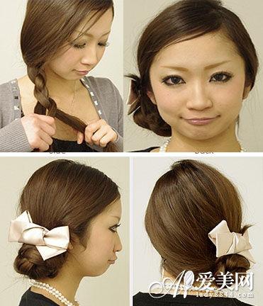 先把头发编成大麻花辫,然后把麻花辫对折捆绑起来,再加上蝴蝶结发夹