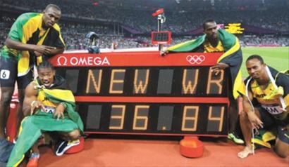 男子4*100米接力博尔特再续神话 打破世界纪录