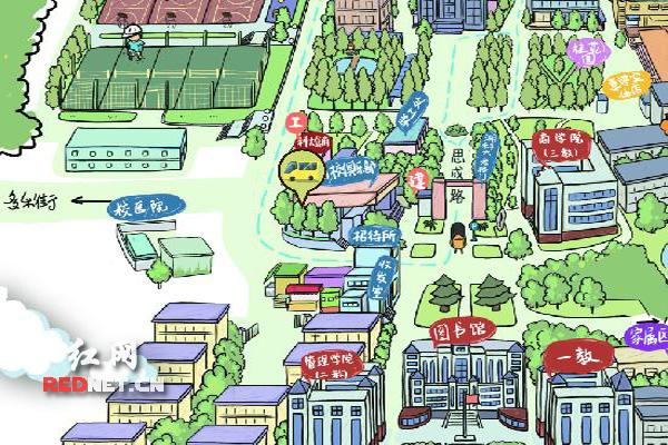 让网友通过手绘漫画地图浏览了整个校园