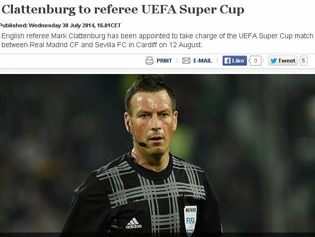 欧足联公布超级杯主裁判人选hg0088皇冠幸运星执法