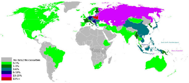二战死亡人口比例-世界地图告诉你 中国人果然最聪明