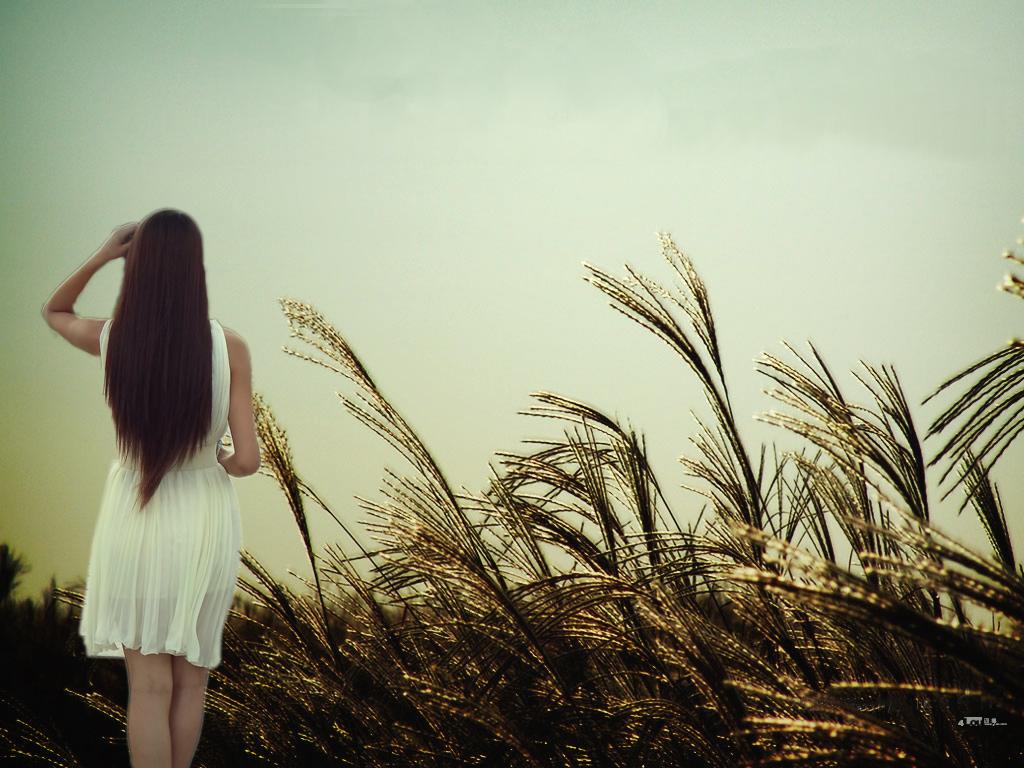 女人背影手绘唯美图片