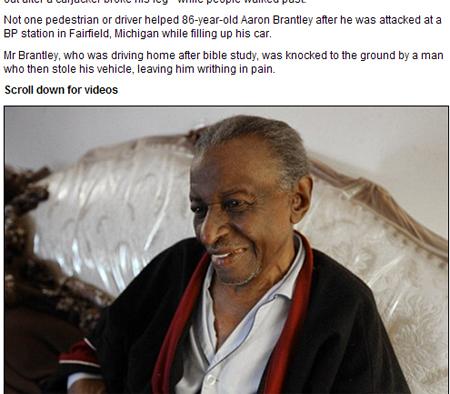 美国一86岁二战老兵遭劫腿被打断 爬行求援无人施救