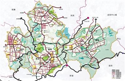 图为《深圳市中部物流组团(布吉,平湖,横岗,南湾和坂田)绿道系统规划