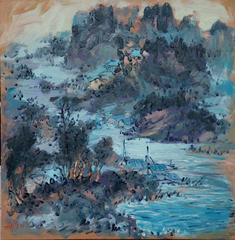 中国风景   中国女画家梁彤秀出生在广州,毕业于   苏州