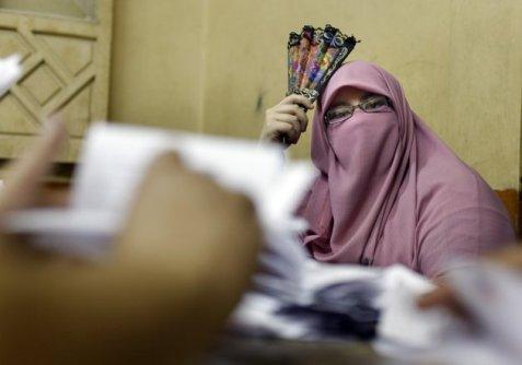 埃及一处投票站现场
