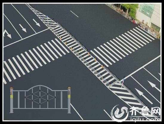 经十东路人行横道效果图-济南经十东路护栏将开 口子 建过街人行横道高清图片