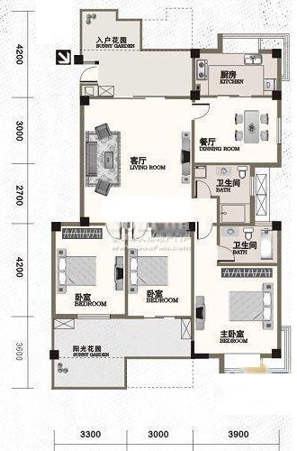 户型设计十分人性化,两室朝南,一室朝北,客厅和朝南卧室之间是个方形图片