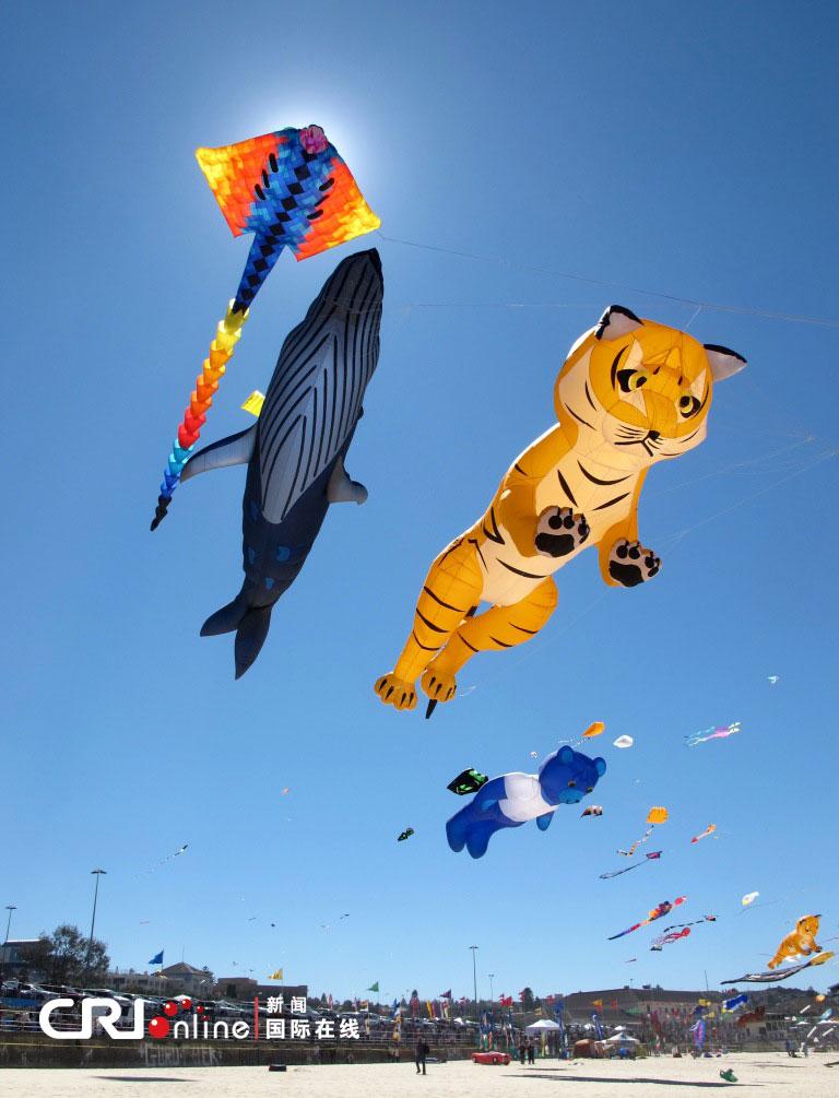 各式手工制作的风筝点缀悉尼邦迪沙滩的天空