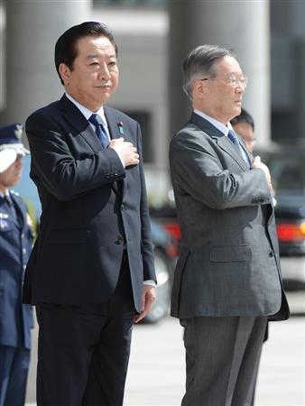 日本首相野田佳彦和防相森本敏