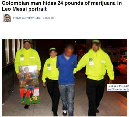 哥伦比亚毒贩用梅西海报藏毒。图片来源:外媒截图
