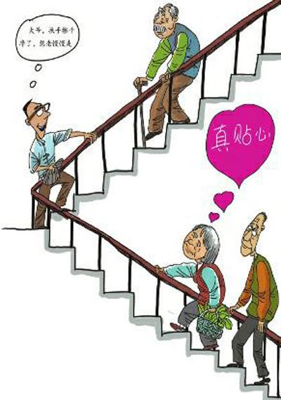 上下楼梯简笔画-扶梯灰尘多老人一抓一手黑 呼吁关爱老人从小事做起