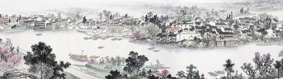 山水画长卷《锦绣望城》长99米 耗时三年/组图图片