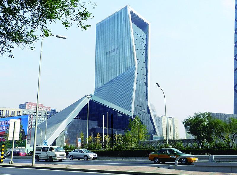 cctv大楼建筑手绘彩图
