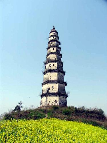 """涪陵文峰塔又名""""白塔"""",位于重庆市涪陵区城东约数千米处长江南岸,今江"""