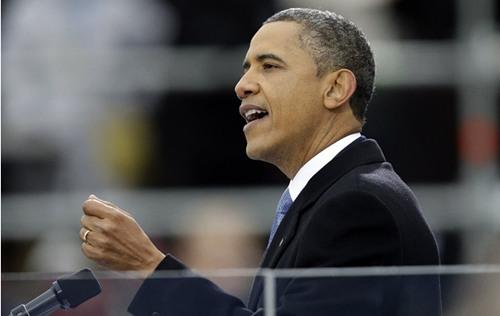 图为奥巴马在发表就职演讲。