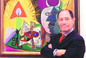 毕加索的儿子克劳德 鲁伊兹 毕加索 左 和女儿玛雅 惠特迈高清图片