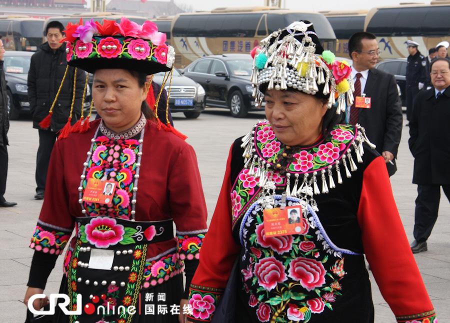 人大代表的民族服饰秀 高清组图