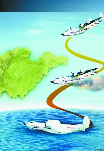 北海舰队一架水上飞机,在青岛胶州湾海域进行飞行训练时失事坠海