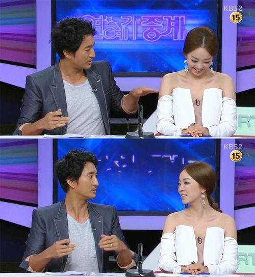 韩国美女主播大胆露胸装吓坏男主播图