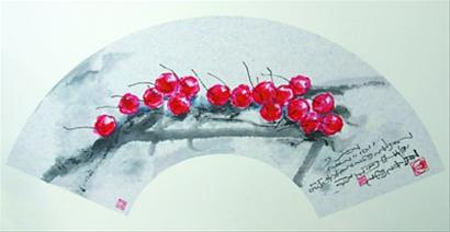 水墨画樱桃步骤图