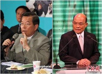 谢长廷(左)和苏贞昌(右),两人分别是民进党的前主席和现任主席。