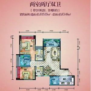 两室两厅双卫户型图高清图片