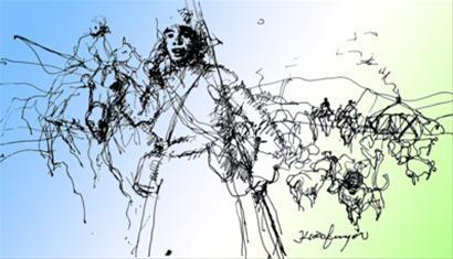 插图 俞晓夫 王忠范 阿尔斯楞是一位蒙古族放马的小伙子,他名字的意思是虎虎生威的狮子。 三十几年前那个美丽的夏天,内蒙古大草原上的风刮过黄河,把青城呼和浩特吹拂得爽润清凉。在富丽堂皇的乌兰洽特剧院,几百名作家、艺术家欢聚一堂,看生动逼真的民族舞《鹰》,听齐宝力高大师的马头琴独奏,接着便是德德玛首唱《阿尔斯楞的眼睛》。布景换了,舞台深处的敖包山下,流过古神树的小河像亮晶晶的剪刀裁剪着绿茵茵的草地,一群奔腾的烈马如海浪挤瘦了天边的云朵。音乐响起,年轻潇洒的德德玛放开她那浑厚柔润的嗓喉: 要说飞快的骏马哟,