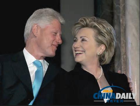 美国前总统克林顿和妻子希拉里