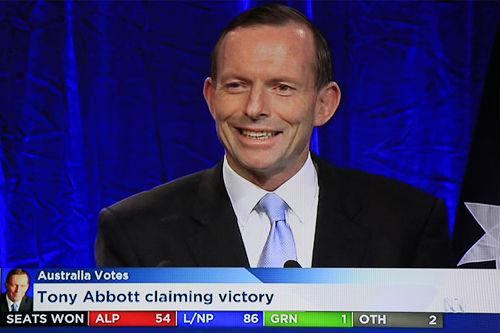 艾伯特胜选发表电视讲话(图片来源:澳大利亚ABC新闻电视截屏)