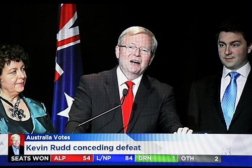 陆克文讲话宣布败选(图片来源:澳大利亚ABC新闻电视截屏)