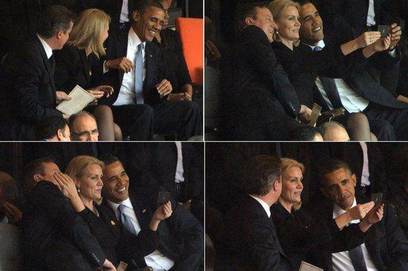 上周,美国总统奥巴马、英国首相卡梅伦与丹麦首相施密特在南非前总统曼德拉追悼会上玩起了自拍 (图片来源:英国媒体)