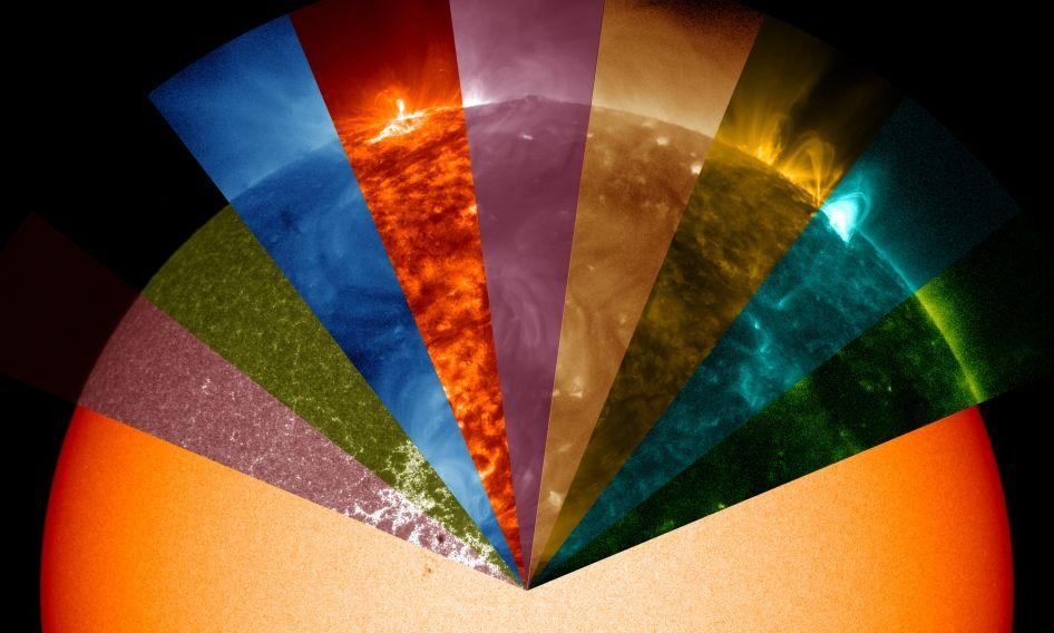 NASA还原太阳表面9种颜色波长(高清图)-中国