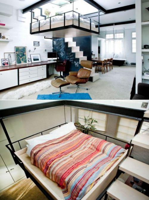 英国公寓为省空间设计床悬在空中