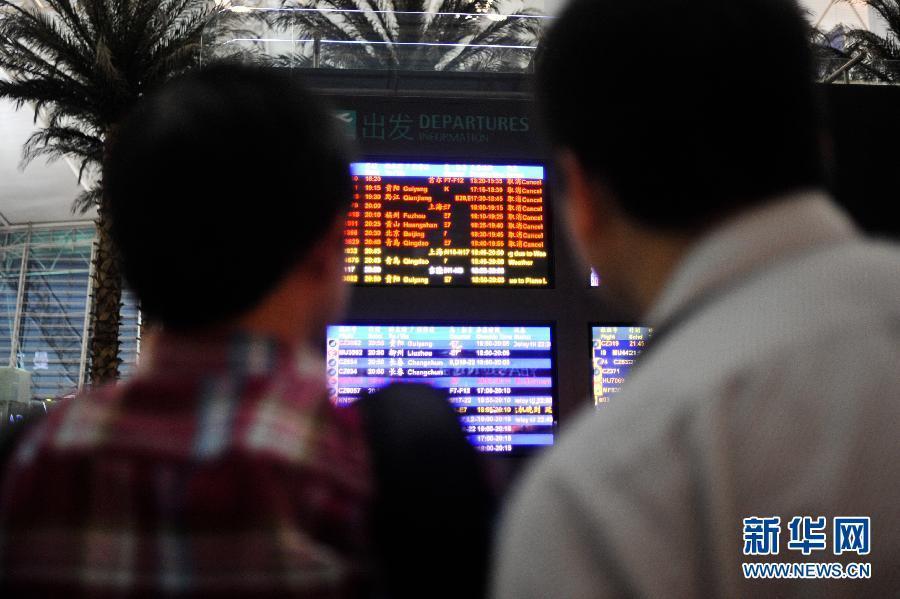 持续雷雨致广州白云机场航班延误