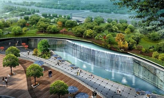 南广场地面景观公园及下沉商业广场效果图