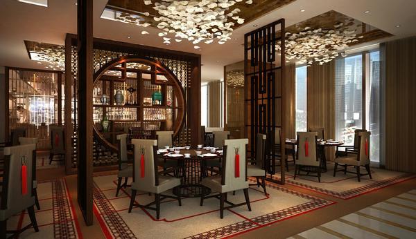 酒店中餐厅效果图 在餐饮配套中,成都希尔顿拥有3个餐厅,一个行政酒廊、一个大堂吧和一个中式茶楼,包括环境现代的全日制餐厅MIX聚;融汇了新式粤菜和川菜精髓的中餐厅御玺;纯正意式风情的地中海西餐厅;休闲放松的大堂吧以及具有传统中式特色的茶室兼六园,能满足不同客人需求。